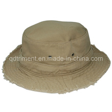 Moda moliendo lavado algodón sarga pescador balde sombrero (TMBH9459)