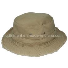 Chapeau de seau de pêcheur en coton lavé à la broderie à la mode (TMBH9459)
