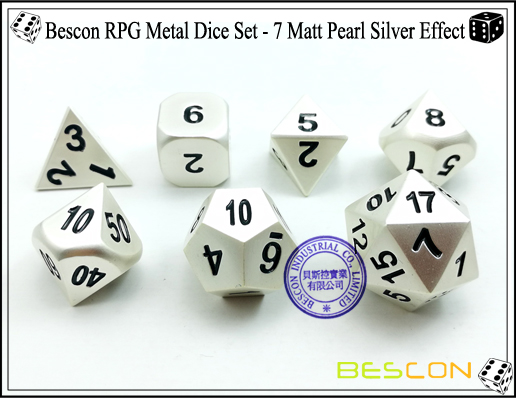 Bescon RPG Metal Dice Set - 7 Matt Pearl Silver Effect-4