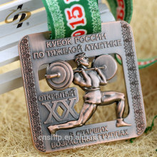 70mm zinc alloy casting antique bronze custom powerlifting logo metal sports medal