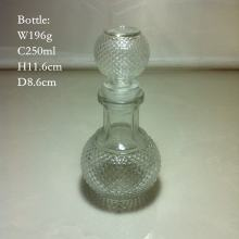 250ml Carved Glass Bottle with Glass Stopper