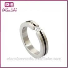 Simple anneaux en diamant en acier inoxydable pour femme célibataire