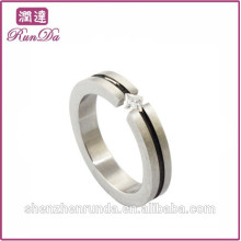 Simple stainless steel diamond rings for single lady