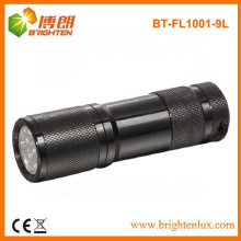 Fuente de fábrica Material de aluminio barato chino 9 llevó la linterna, antorcha de 9 LED