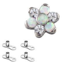 Titanium Cubic Zircon Opal Fleur peau plongeur échantillon gratuit piercing bijoux