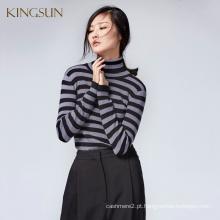 JS - 11016A com tiras de estilo clássico tartaruga pescoço fino camisola de malha feminina elegante