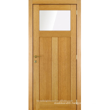 Unfinished one glass two panel interior wood door