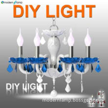 6 Light blue glass crystal chandelier made in china
