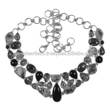 Black Onyx And Tourmanilated Quartz 925 Solid Silver Necklace Jewelry