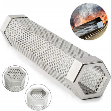 "Pellet Smoker Tube 12 ""Panjang Heksagon Bentuk Perforated BBQ"