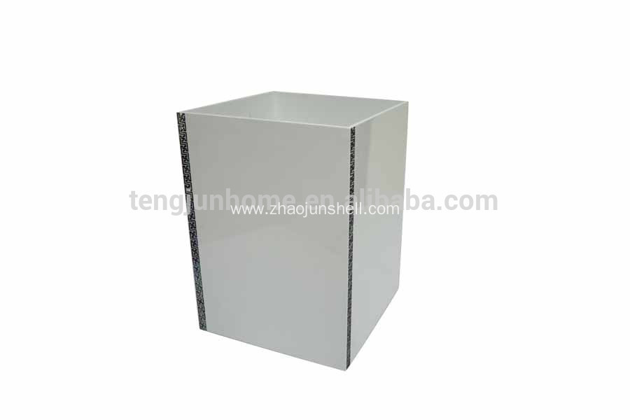 Luxury paua shell wooden waste bin for wholesale