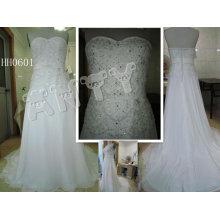 HH0601 2011 neue Art und Weise A-Linie kundengebundene reale Spitze-Brautkleid-Ansammlung