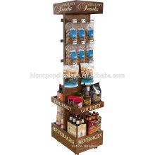 Supermercado Beverage Commercial Red Wine Holder Freestanding Madera Cerveza Venta al por menor Display Rack