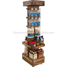 Supermarket Beverage Commercial Red Wine Holder Freestanding Wood Beer Retail Display Rack