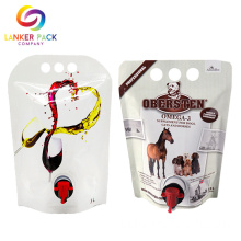 Laminated Custom Resealable Wine Bag Dengan Spout Tap