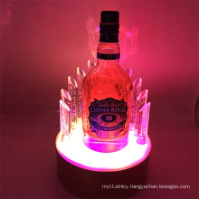Round Shaped LED Light Acrylic Wine Display Stand