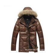 Leisure PU Coated Fur Collar Down Jacket