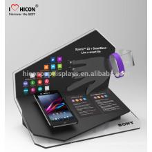 Aumentar la fidelidad de los clientes portátil de acrílico portátil de la tabla de visualización del teléfono con el titular de accesorios de tienda muestra