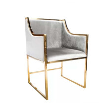 Contemporary Grey Fabric Golden Legs Restaurant Chair Kitchen Furniture  Dining Room Chair With Armrest