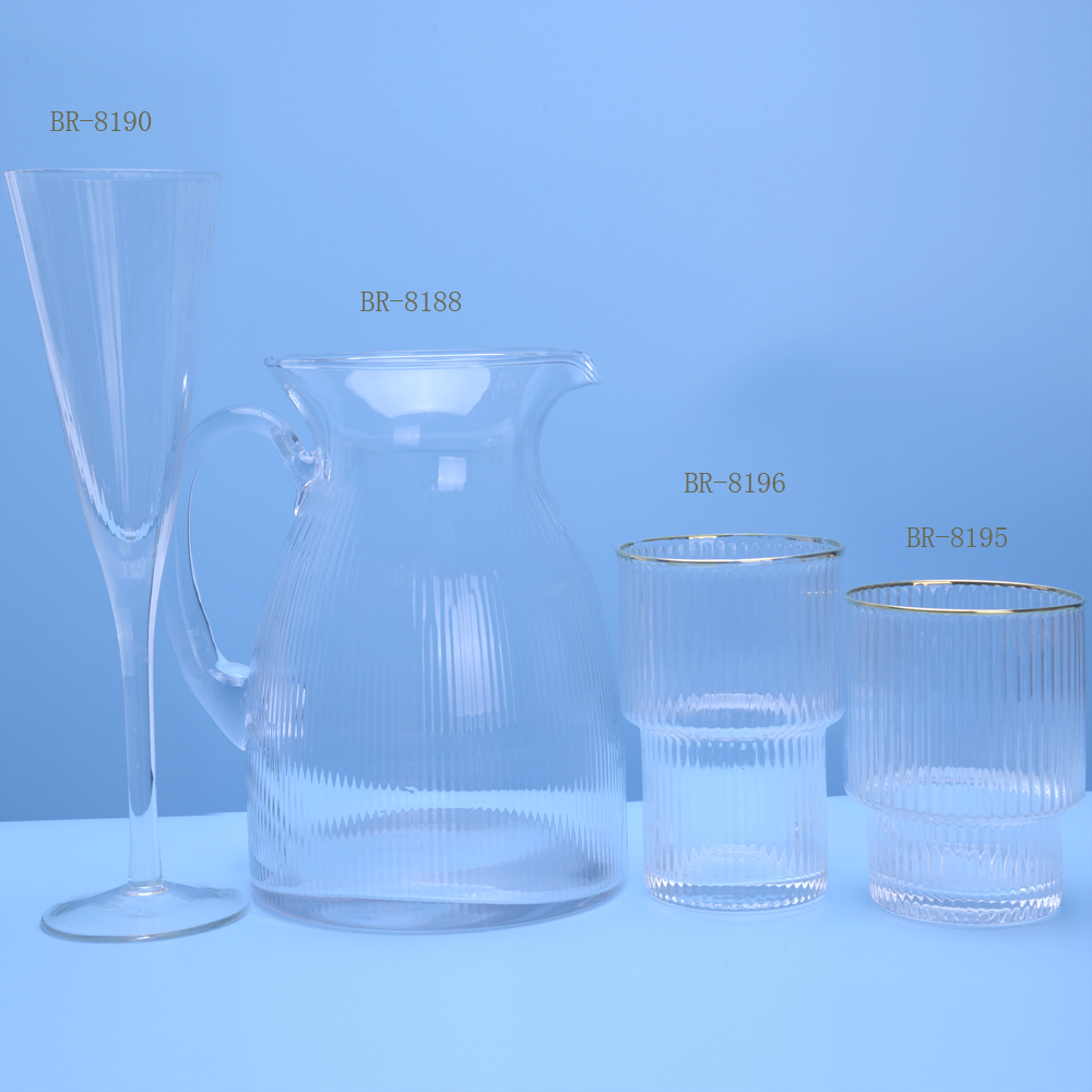 ribbed Glass Pitcher And Cups