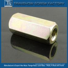 Écrou hexagonal galvanisé jaune à long corps DIN6334