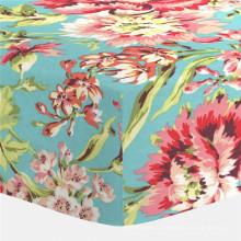 Коралловый и бирюзовый Цветочный кроватки приспособленный лист кровать