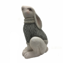 Home Decoration Animal Statue Rabbit White Figurine Miniature Family Resin Bunny Woolen Yarn Sweater Rabbit Sculpture