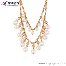 42721 Atacado mulheres extravagantes jóias estilo elegante design de luxo banhado a ouro colar de pérolas de cobre