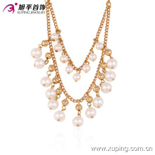 42721 Оптовая модные ювелирные изделия женщины элегантный стиль, роскошный дизайн позолоченные медь жемчужное ожерелье
