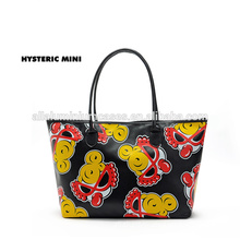 pu leather bags canvas/promotional canvas pu leather tote