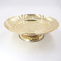 7.5inch round gold painted stainless steel fruit serving banquet plate
