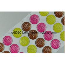 Étiquette époxyde de résine de dôme étiquette imprimée et en relief de label en aluminium de Sandy avec l'adhésif époxyde de 3m Adhsive