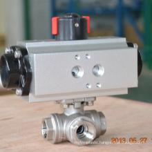 POV Shanghai made 3 way inner thread pneumatic ball valve stainless steel