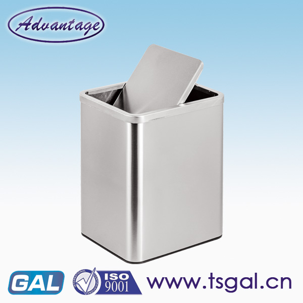 Square recycling bins with swing lid