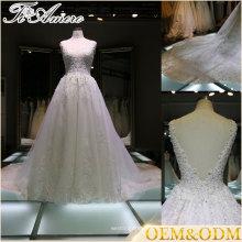 Applique open back bas V col train cathédrale robes de mariée sans manches