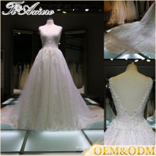 applique open low back V neck cathedral train wedding dresses sleeveless