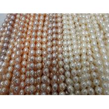 10-11mm Forme de riz Real Pearl Strands