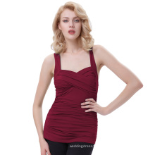 Belle Poque ärmellose Cross Front Sweetheart Klassische Wein Red Pinup Tank Tops BP000342-1
