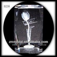 Fleur gravée au laser 3D K9 à l'intérieur du bloc de cristal