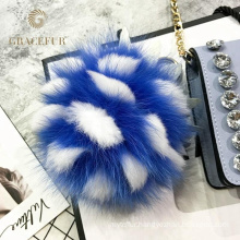 Excellent fast supplier fox tail fur jewelry keychain accessory