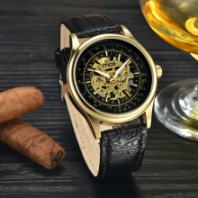 low moq leather band mechanical wrist watch