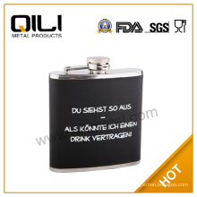 6oz stainless steel wholesale PU leather wrapped silk wine/liquor bottle with logo