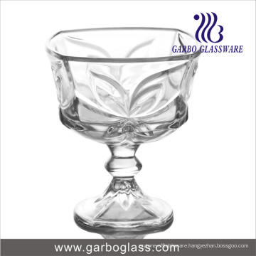 Footed Glass Ice Cream Bowl with Bowknot Design