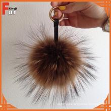 Оптовая RaccoonFur натуральный мех енота мяч Брелок Брелок подарок