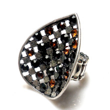 Newest Fashion Ring Jewellery Hot Sale Wholesale teardrop shape crystal metal alloy stretch ring antique silver plated