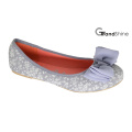 Women′s Printed Canvas with Bow Flat Casual Ballet Shoes