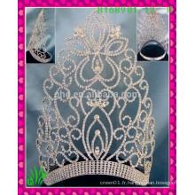 Nouveau design en gros, feuille alibaba grande strass beauté couronne les tiaras
