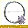 White Blue Synthetic Fire Flower Opal Prong Set Ear Daith Tragus Septum Ring Nipple Ring