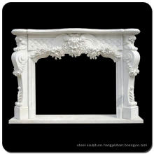 Popular design floral and shell cultured white marble fireplace surround