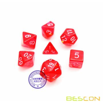 Bescon Mini Translucent Polyhedral RPG Dice Set 10MM, Small RPG Role Playing Game Dice Set D4-D20 in Tube, Transparent Red
